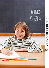 école primaire, pratiquer, girl