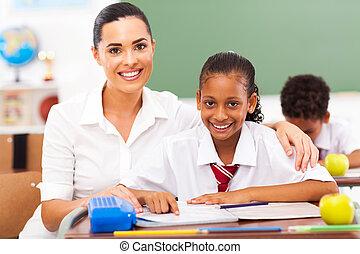 école primaire, prof, et, étudiants