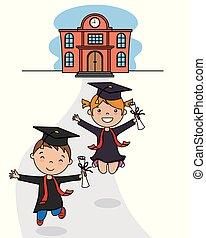 école, procès, enfants, remise de diplomes, partir
