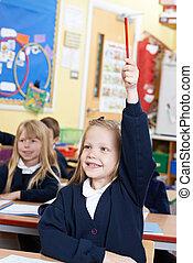 école, question réponse, élémentaire, girl, classe