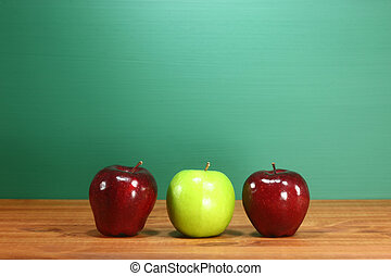 école, séance, pommes, bureau, prof, rang