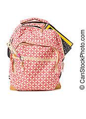 école, sac à dos, débordement, à, fournitures