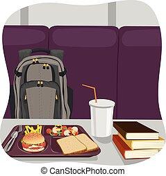 école, sac à dos, déjeuner, livres, table, plateau, pile