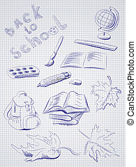 école, school., articles, dos, freehand, dessin