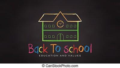 école, school., dos, vecteur, noir, planche, chalk.
