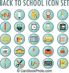 école, set., dos, 2, partie, icône