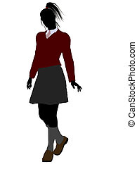 école, silhouette, girl