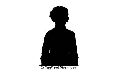 école, silhouette, marche, conversation, appareil-photo., girl