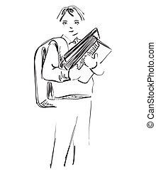 école, sketch., boy., illustration, main, dessiné, enfants
