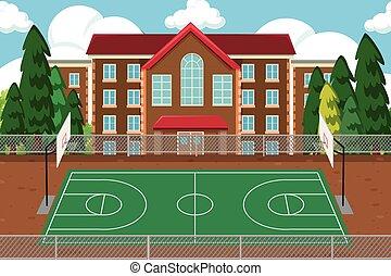 école, sport, cour de récréation, vide