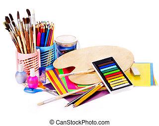 école, supplies., dos