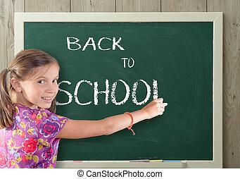 école, tableau noir, dos, écriture, jolie fille