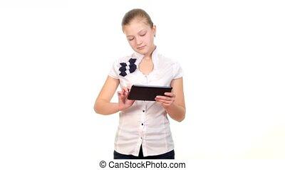 école, tablette, regarder, informatique, quelque chose, fond, utilisation, girl, blanc