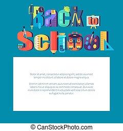 école, texte, cadre, dos, endroit, affiche