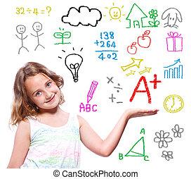 école, thème, écrit, girl, main