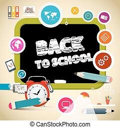 école, titre, articles, dos, noir, planche, education