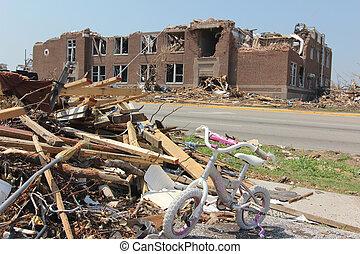 école, tornade, élémentaire, endommagé