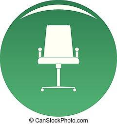 école, vecteur, chaise verte, icône