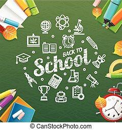école, vecteur, concept., dos