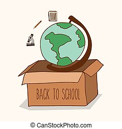 école, vecteur, dos, illustration, conception