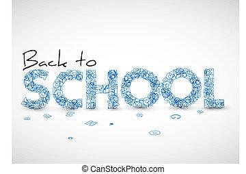 école, vecteur, dos, illustration