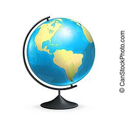 école, vecteur, globe