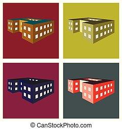 école, vecteur, illustration, bâtiment.