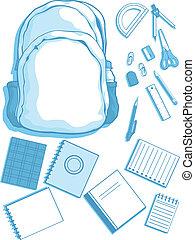 école, vecteur, kits, customizable