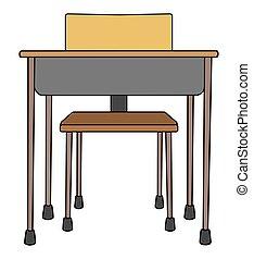 école, vide, bureau