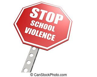 école, violence, arrêtez panneau signalisation