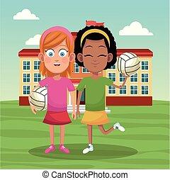 école, voleyball, filles, équipe