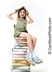 écolière, à, livres