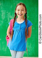 écolière, à, rucksack