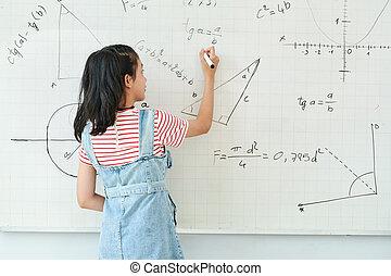 écolière, écriture, whiteboard
