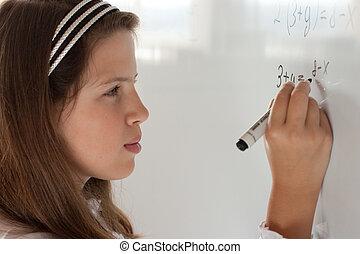 écolière, équation, whiteboard, solution, écriture