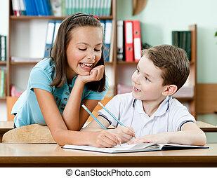 écolière, ami, tâche, aides, elle