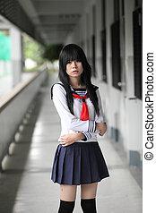 écolière, asiatique