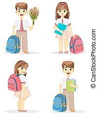 écolière, backpack., écolier