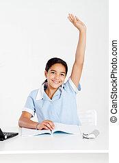 écolière, classe, haut, main