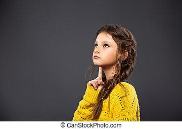 écolière, concept, school., gris, pensée, haut, dos, regarder, arrière-plan., education., studio, grimacer, sérieux