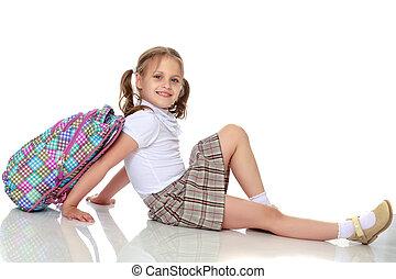 écolière, girl, séance, plancher