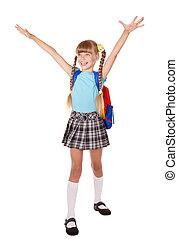 écolière, haut, sac à dos, main