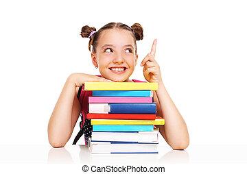 écolière, livres, quelque chose, pointage
