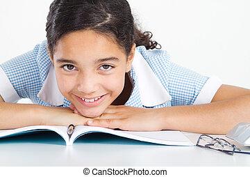 écolière, mignon, mensonge, elle, bureau