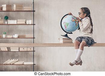 écolière, peu, globe
