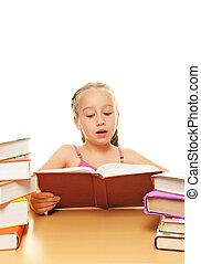 écolière, peu, livre lecture