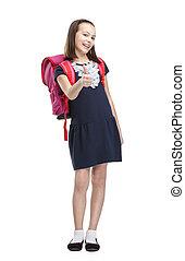 écolière, rose, serviette