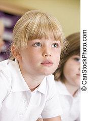 écolière, séance, classe, primaire