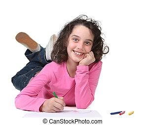 écolier, jeune, typon, sourire, dessin