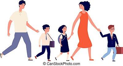 écolier, kids., grand, went, mère, illustration, leur, famille, uniforme, écolières, père, enfant, study., vecteur, étudiants, enfants, école, aller, parents